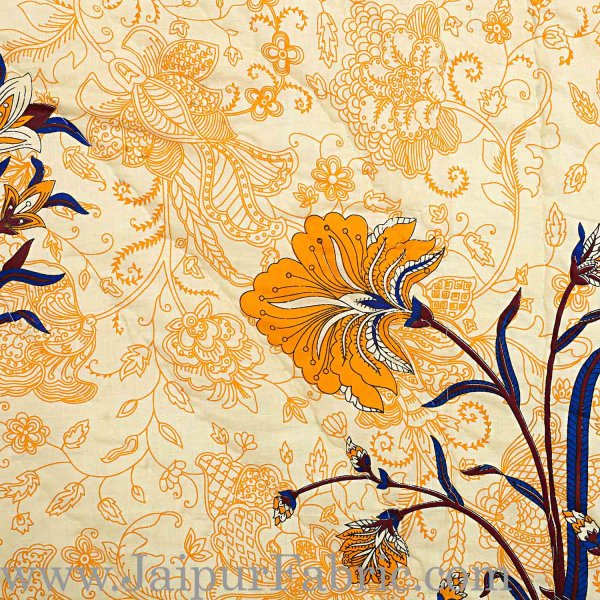 Jaipuri Printed Double Bed Razai Cream Base with Mughal pattern