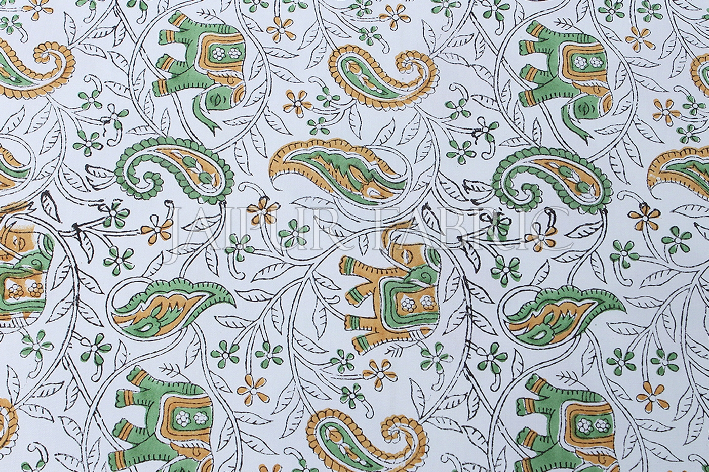 White Base With Green Elephant Brown Mango pattern Print Single Cotton Bed sheet