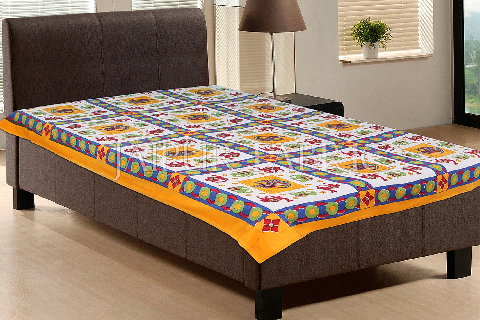 Yellow Base Green Elephant Red Camel Block print Single Bed Sheet