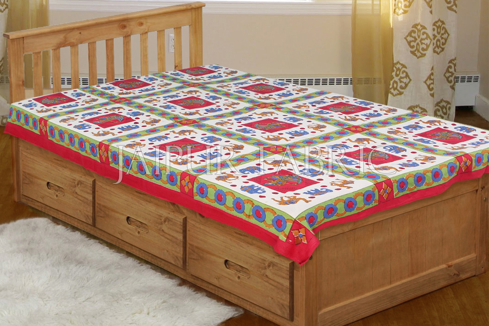 Red Base Blue elephant Brown Camel Block print  Single Bed Sheet