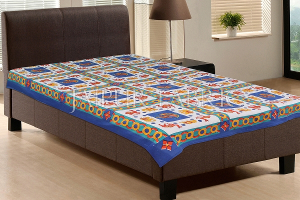 Blue Base Yellow elephant Orange Camel Block print  Single Bed Sheet
