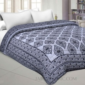 Traditional Grey Jaipuri  Double Bed Quilt