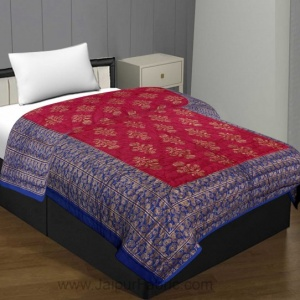 Jaipuri Printed Single Bed Razai Golden Blue And Rani With Leaf Pattern