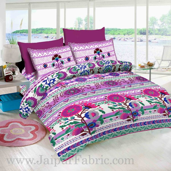 Sun Flower With White base  Purple floral  Pure Cotton King Size Bedsheet With 2 Pillow