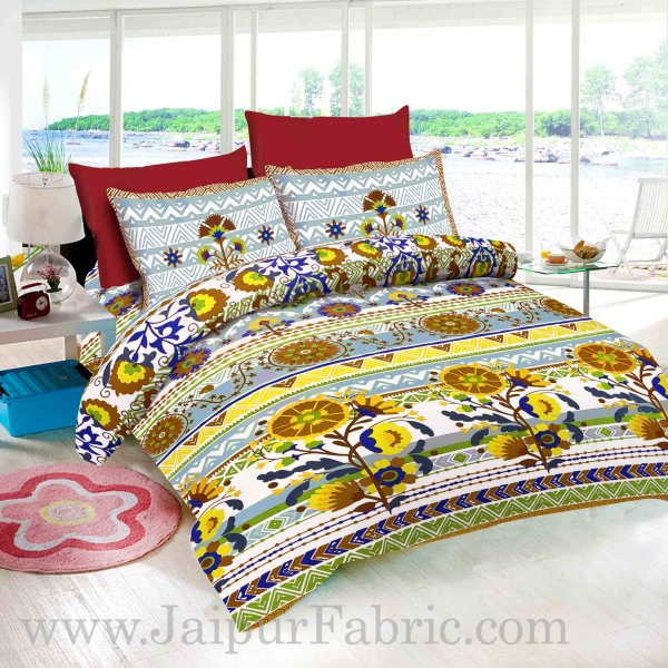 Sun Flower With White base  Brown floral  Pure Cotton King Size Bedsheet With 2 Pillow