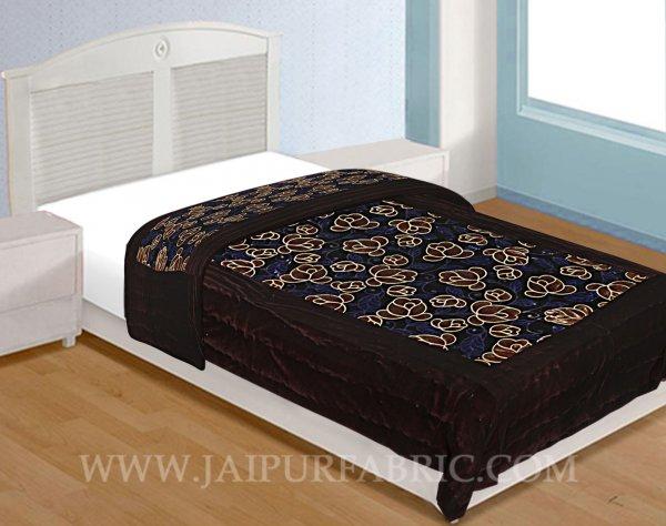Jaipuri Printed Single Velvet Quilt/Rajai Hand Crafted Floral Print