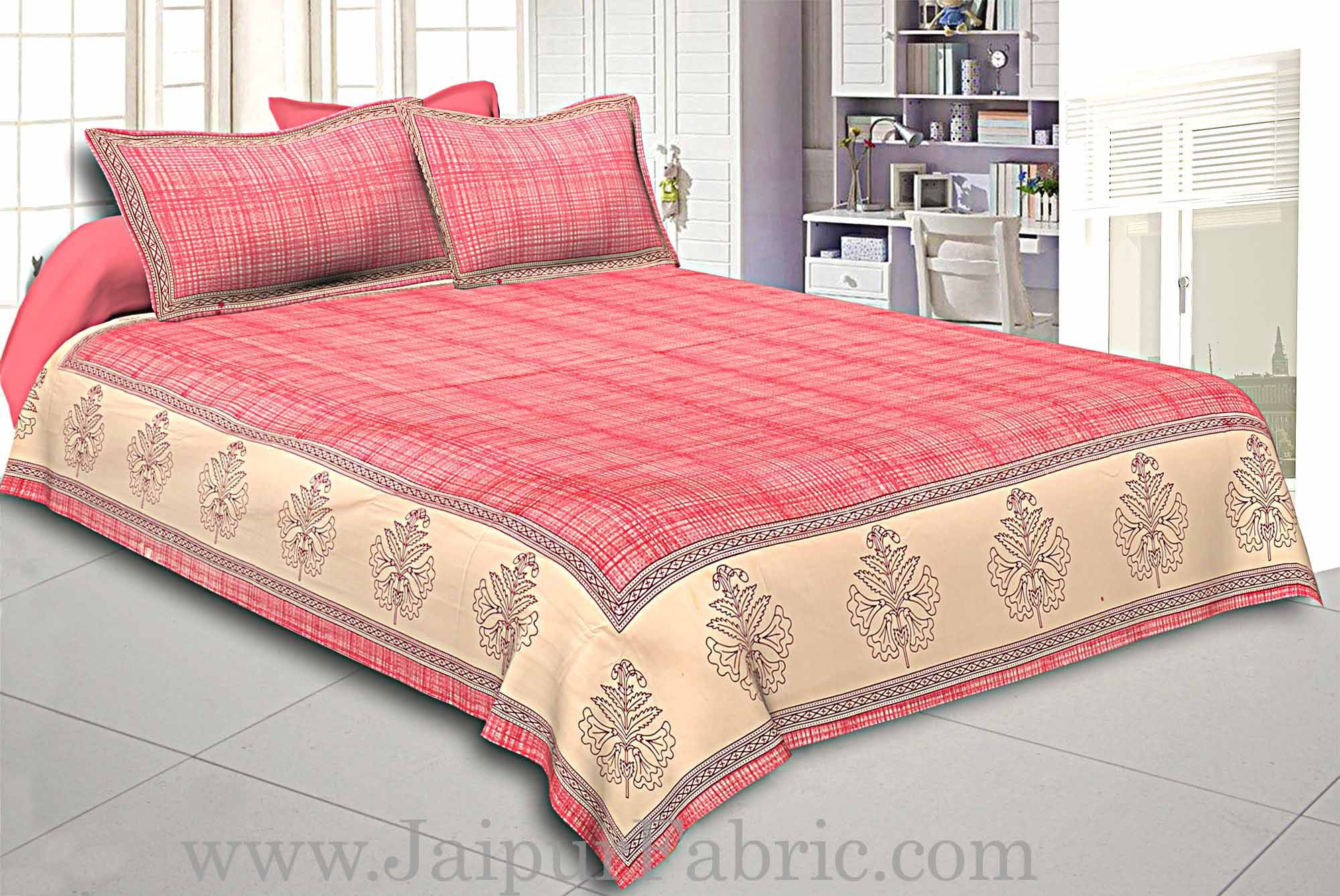 king Size Cotton Satin Double Bed sheet Pink Border With Cream Base  Hand Block  Pattern