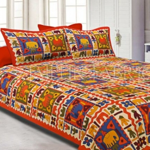 Orange Border Elephant Pattern Screen Print Double Bed Sheet