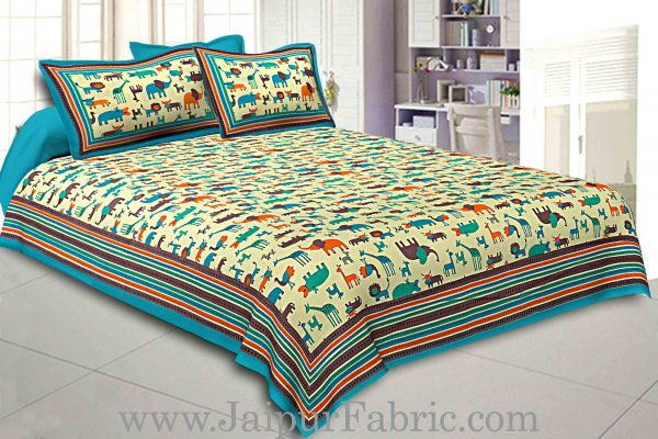 Double bedsheet Blue Color  Animal Pattern Smooth Touch With 2 Pillow Cover