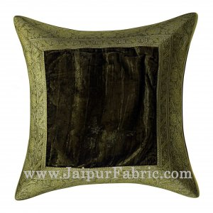 Green Color Velvet Cushion Cover