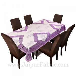 Purple Border White Base With Flower  Hand Block Print Super Fine Cotton Table Cover