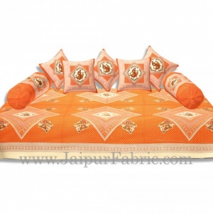 Cream Border Orange Base Bandej And Dandiya Print Diwan Set
