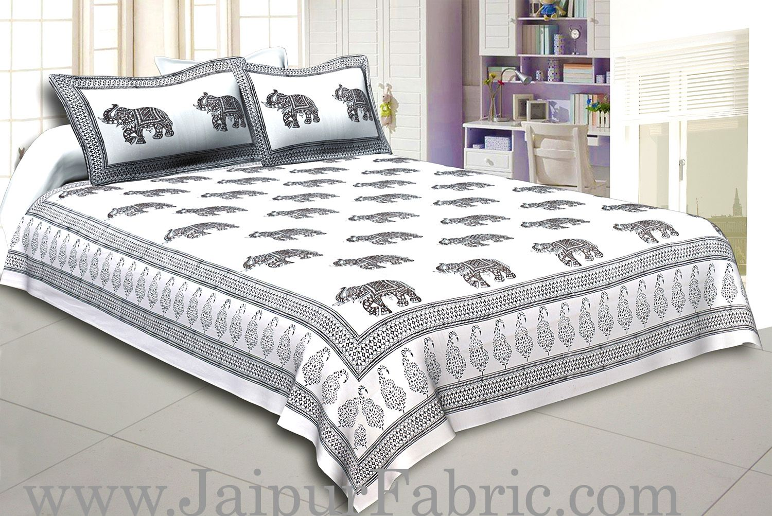 White Border With White Base Black And  Gray Elephant Hand Block Print Super Fine Cotton Double Bed Sheet