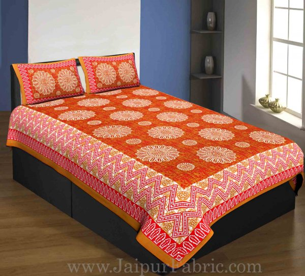 Single Bedsheet Pure Cotton Brown Border Flower Print Zig Zag Pattern