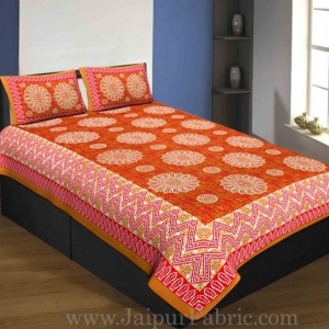 Single Bedsheet Pure Cotton Red Border Flower Print Zig Zag Pattern