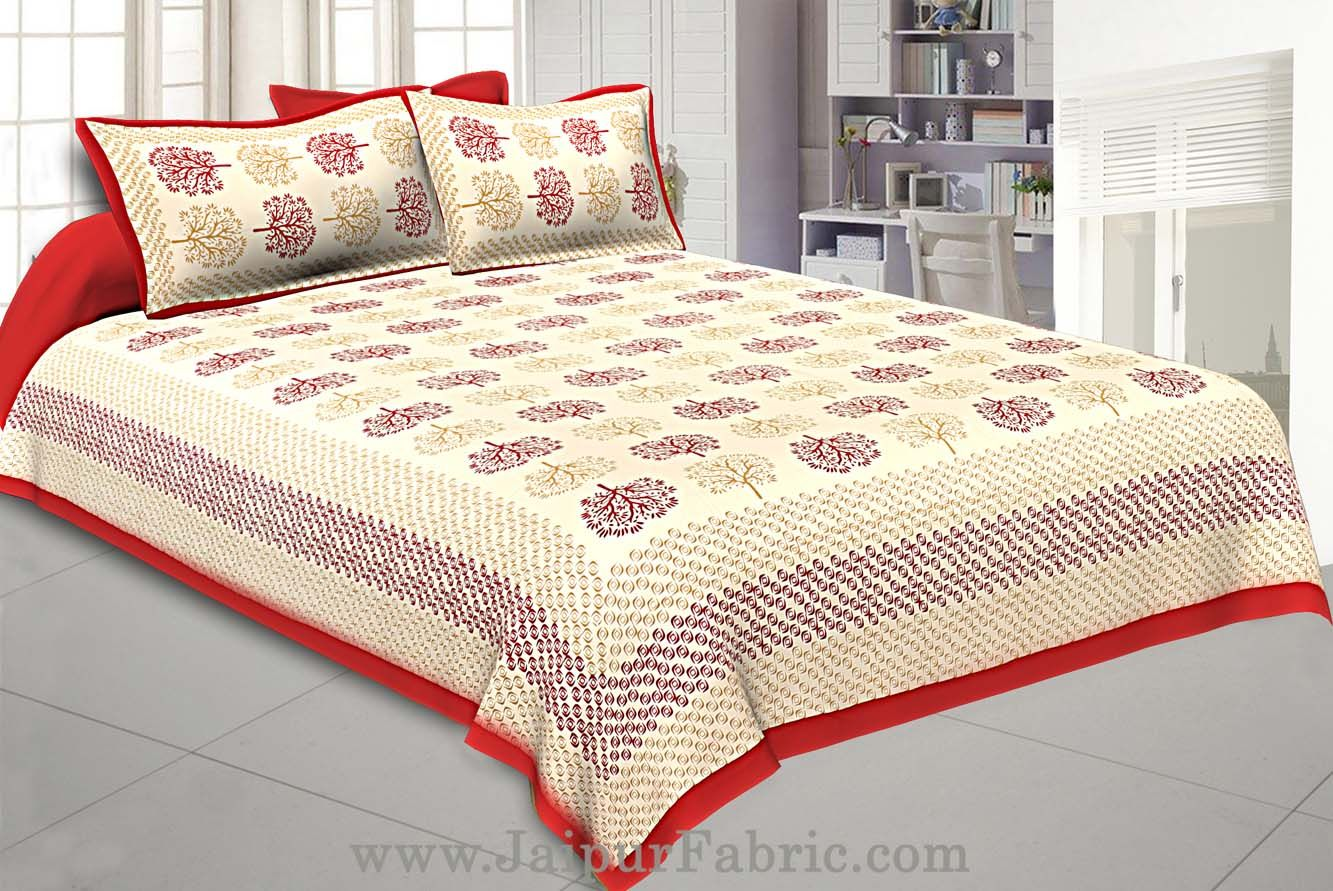 Maroon Trees Double Bedsheet With 2 Pillow covers
