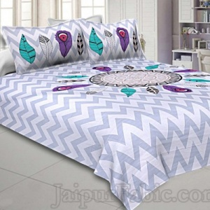 Modern Jungle Blue Grey 240 TC Double Bedsheet