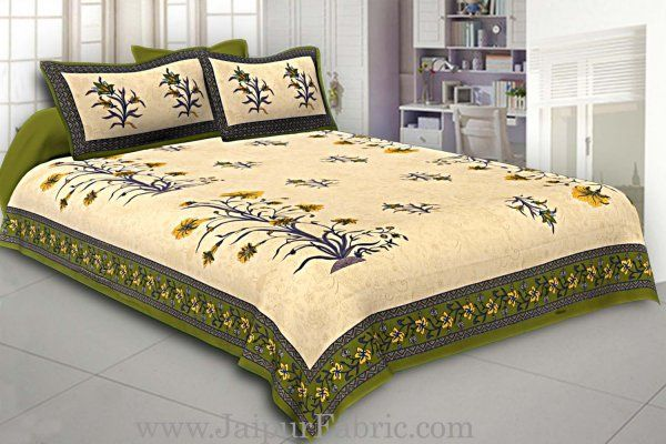 Wholesale Green Border Tropical keri Design Cotton Double Bed Sheet