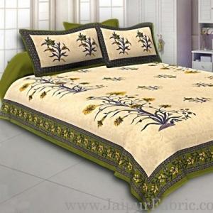 Wholesale Green Border Tropical keri Design Cotton Double Bed Sheet