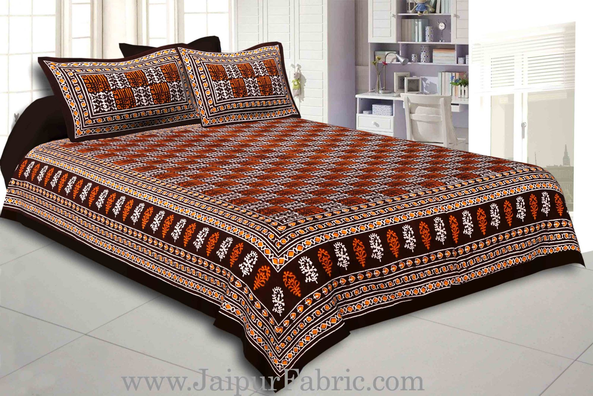 Dark Coffee Border Coffee Base Checkered  Print Fine Cotton Double Bed sheet  With Pillow Cover