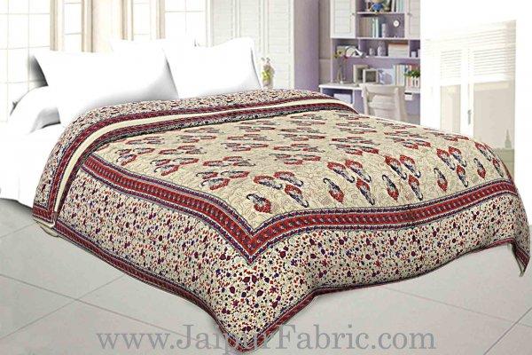 Jaipuri Printed Double Bed Razai Red  Cream Base with Mughal pattern
