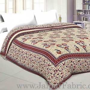 Jaipuri Printed Double Bed Razai Red  Cream Base with Mughal pattern