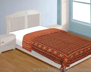 Jaipuri Razai Brick Color Elephant Golden Print Single Bed Quilt