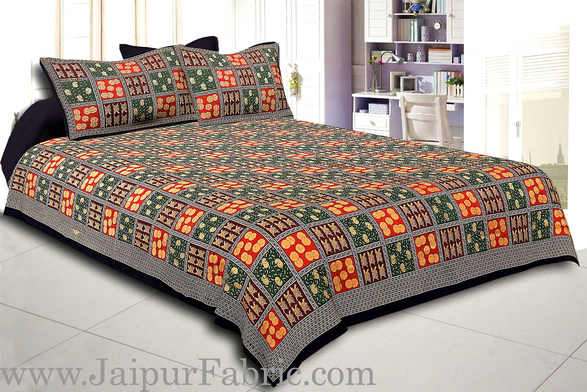 Black Border With Maroon Green And Red Check With Elephant Pattern Golden Print Super Fine  Cotton Double Bedsheet