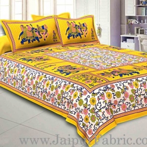 Yellow Border Big Elephant Printed Cotton Double Bed Sheet