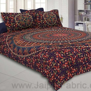 Royal Blue Mandala Bedsheet Tapestry Floral Print With 2 Pillow Covers