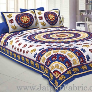 Double bedsheet Blue Border With Elephant Print Fine Cotton With Two Pillow Cover