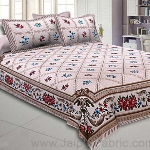 Double Bedsheet Multi Grey Floral Cotton