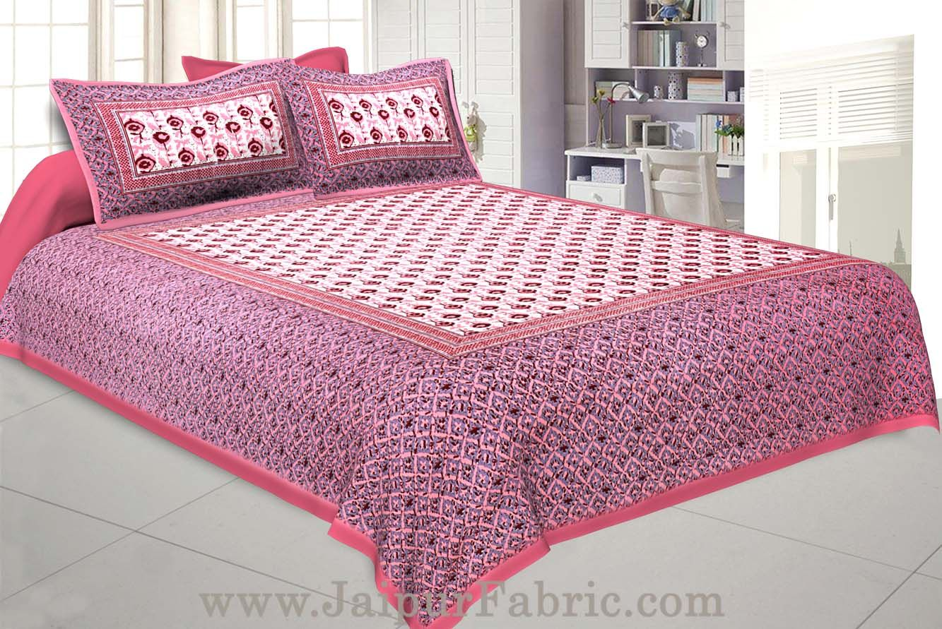 Floral BedSheet Double Bed with Pink Base