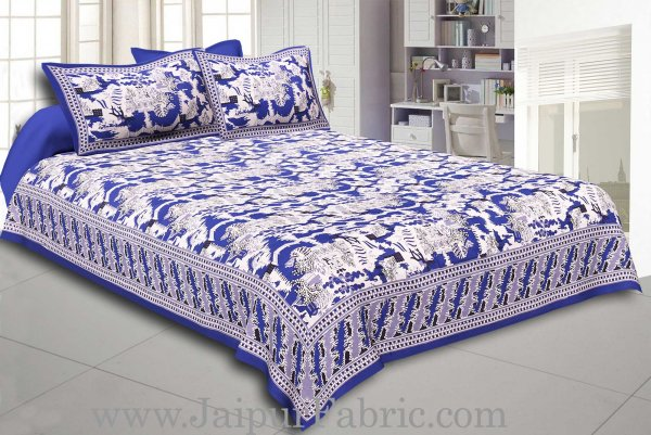 Blue Border Good Looking Heritage Design Pure Cotton Double Bedsheet With Pillow Cover