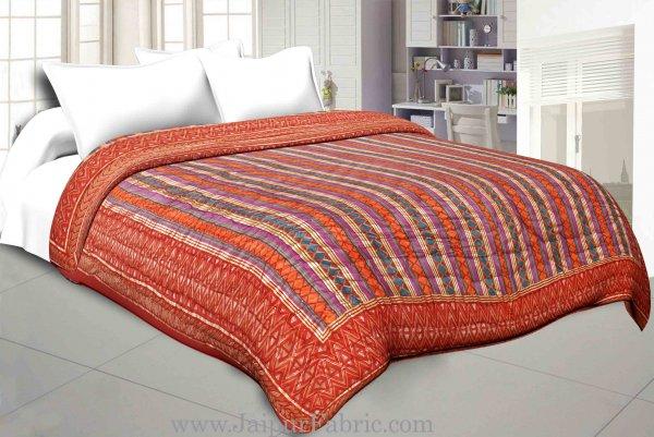 Magenta  Firozi Broad Line  Golden Print Fine Cotton Single Quilt