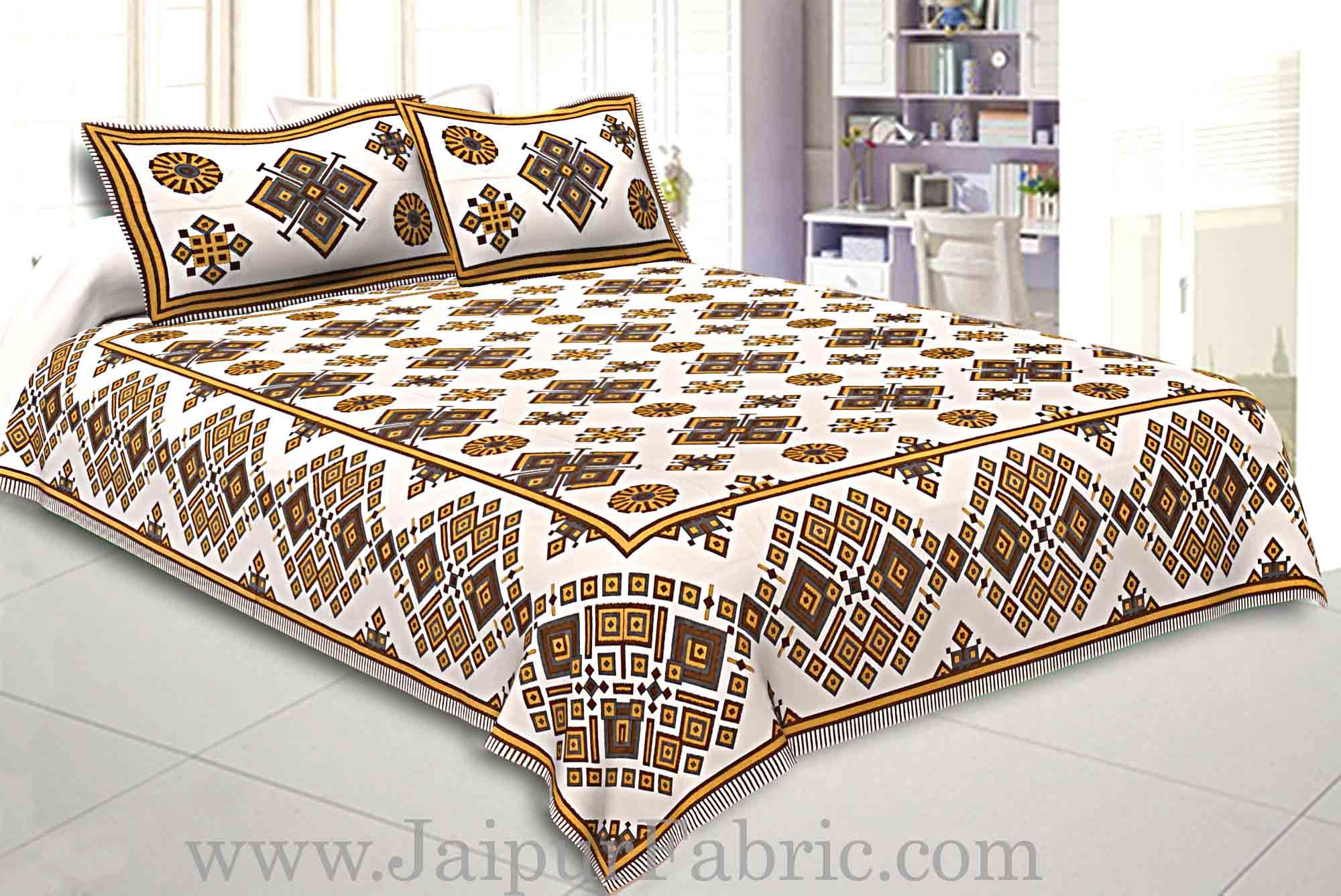 Double Bedsheet  Light Yellow  Border  Fine Cotton  Rangoli  Print