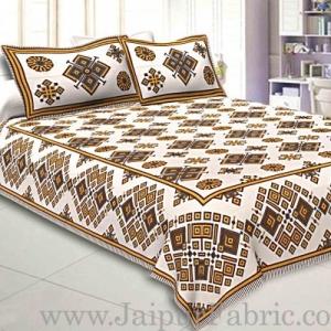 Double Bedsheet  Light Yellow  Border  Fine Cotton  Rangoli  Print