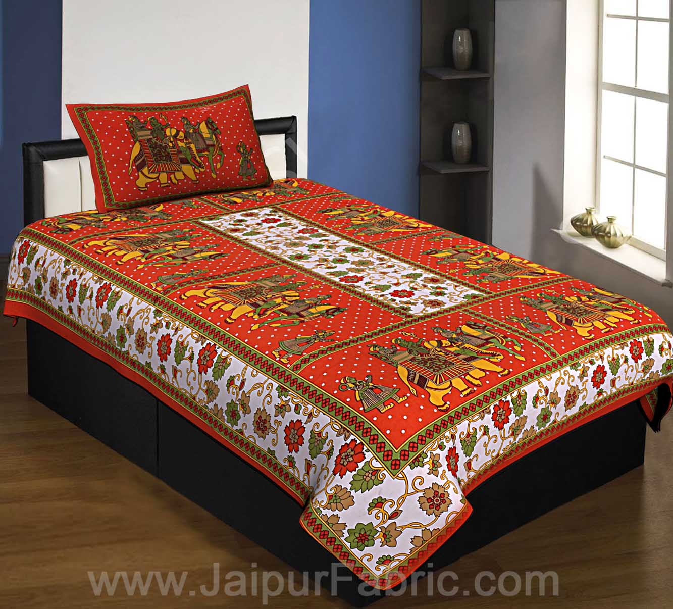 Orange Big Elephant Printed Cotton single Bed Sheet
