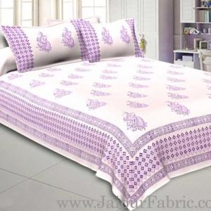 Double Bed Sheet White Base With Kadhi Print Blue Rajasthani Buta Hand Block Print Super Fine  Cotton