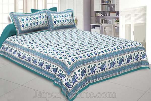 Double Bedsheet Paisley Sea Green Gold Print