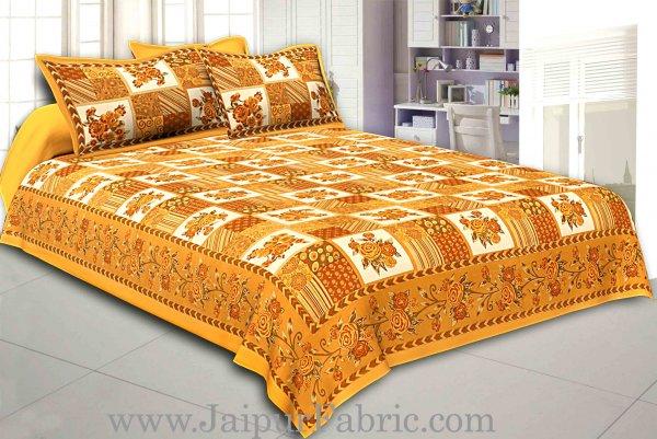 Mustard Color Floral Print Square Design Cotton Double Bed Sheet