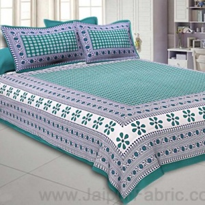 Double Bedsheet Sea Green Color Rangoli Print