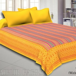 Yellow  Border Yellow And Orange Zig Zag Pattern With Thread Hand Work(Kantha) Gudri ( Bed Cover)
