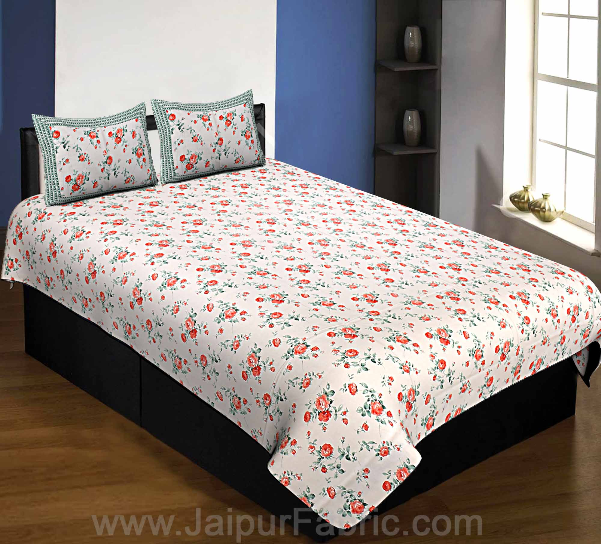 Pure Cotton 240 TC Single Bedsheet in pink bouquet print taxable