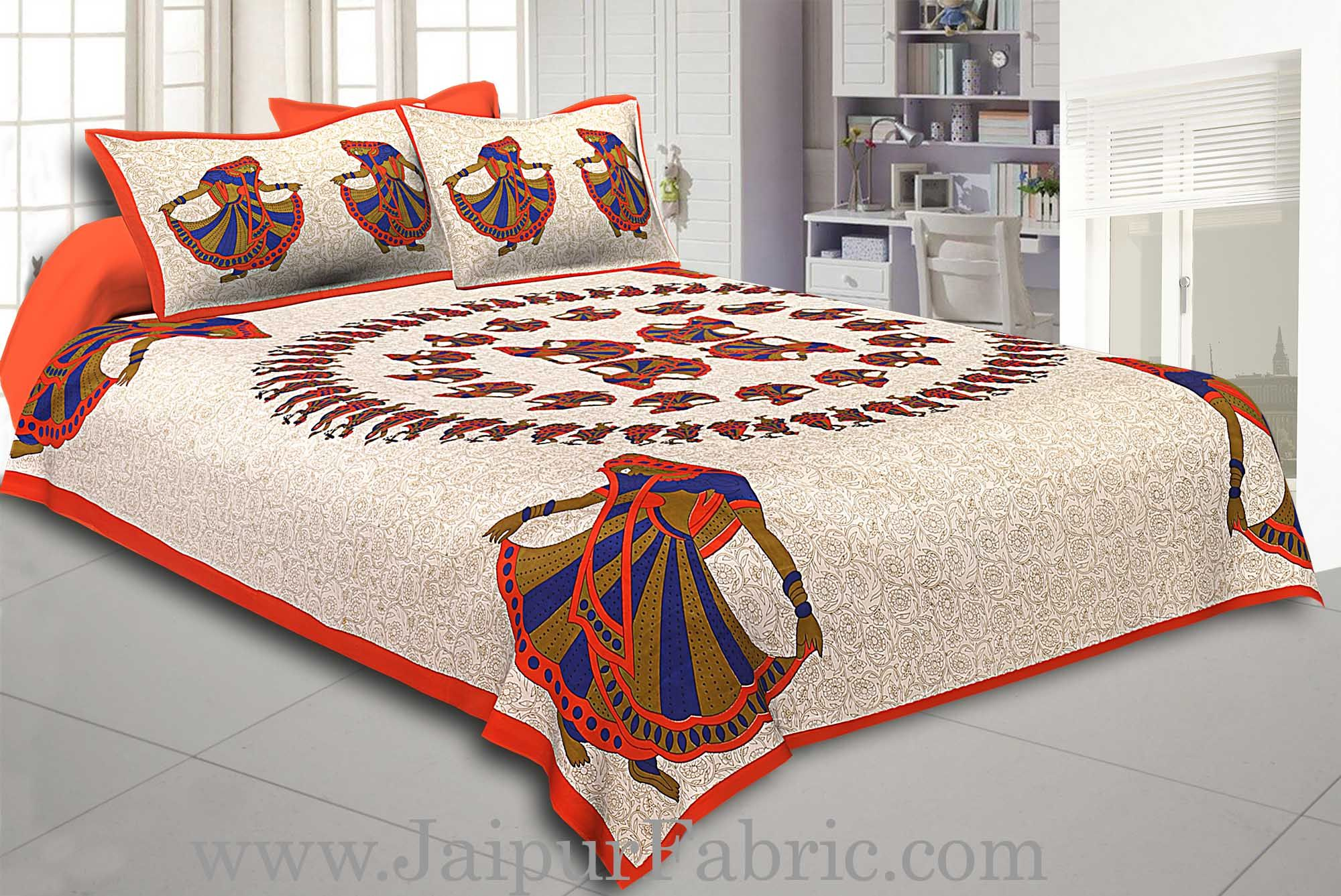 Orange Border Rajasthani Gujri Dance Cotton Double Bedsheet
