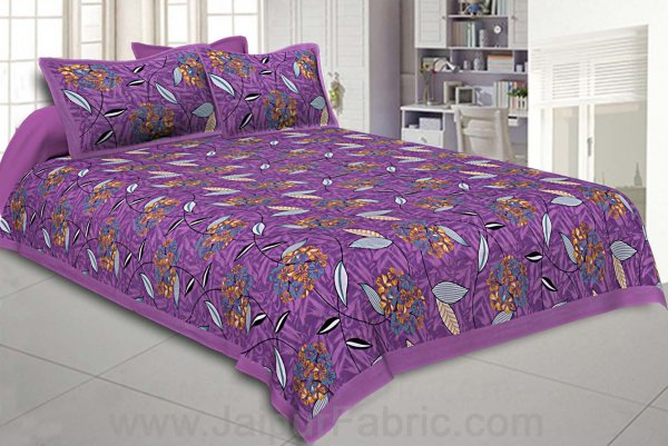Purple Flowery Double Bedsheet