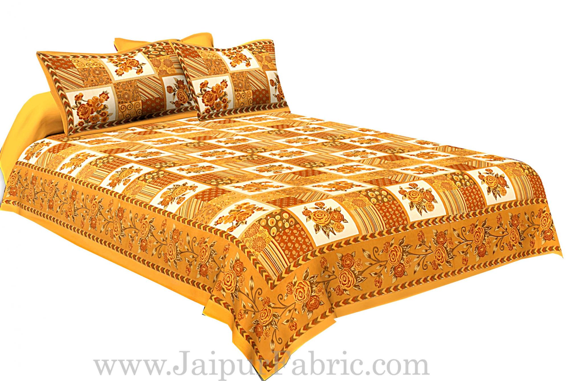 Mustard Color Floral Print Square Design Cotton Double Bed Sheet