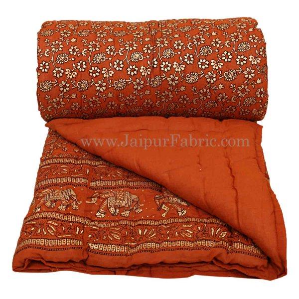 Jaipuri Razai Brick Color Elephant Golden Print Single Bed Quilt