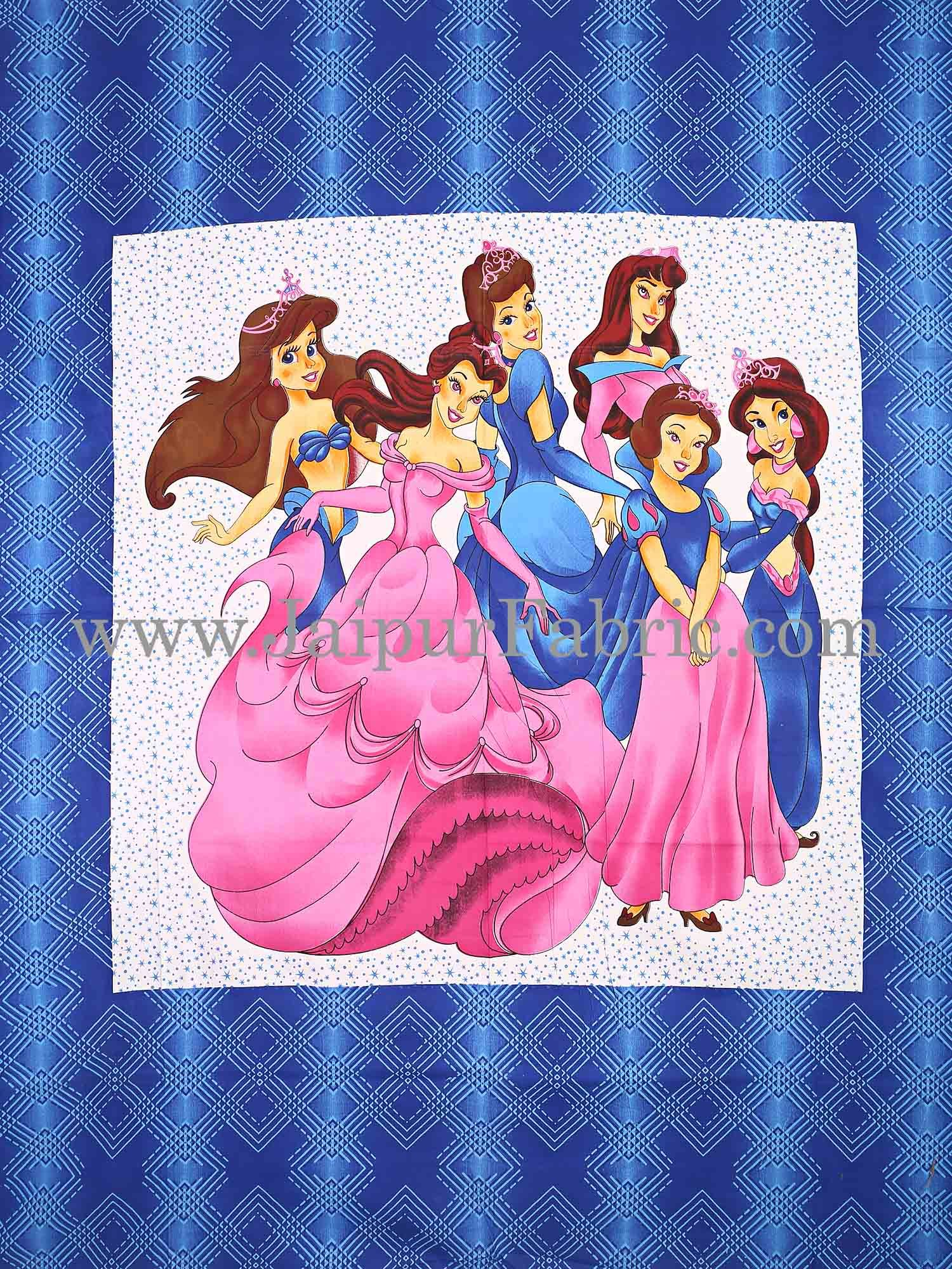Blue Barbie Doll Cotton Double Bed Sheet