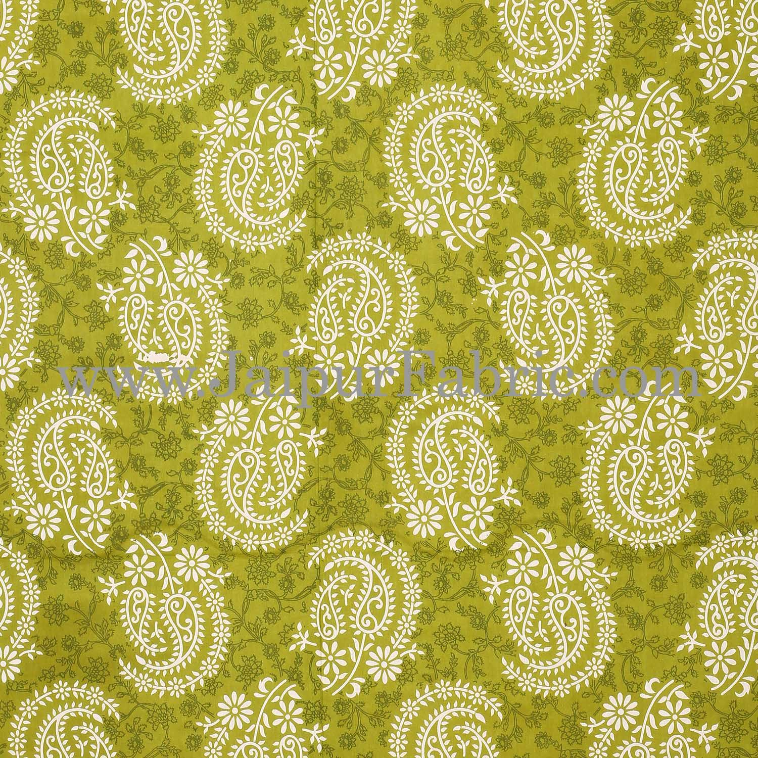 Green  Border With Zig Zig Lining Twin Kerry Pattern Cotton Double Bed Sheet